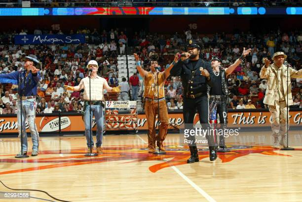 The Village People perform during halftime of the Phoenix Mercury vs Connecticut Sun game May 28 2005 at Mohegan Sun Arena in Uncasville Connecticut...