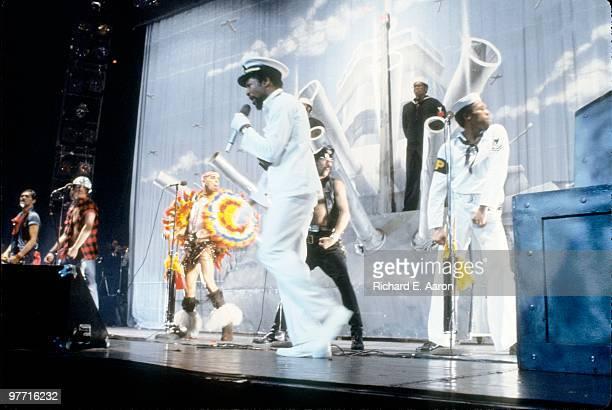 The Village People perform live on stage in new York in 1979 LR Randy Jones David Hodo Felipe Rose Victor Willis Glenn Hughes Alex Briley