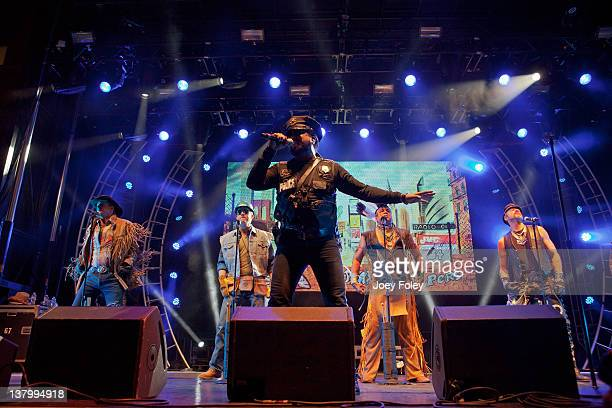 The Village People performs onstage during day 4 of the Super Bowl Village on January 30 2012 in Indianapolis Indiana