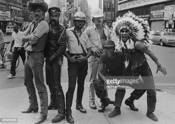 The Village People promote their appearance in Allan Carr's musical comedy 'Can't Stop the Music' 1980 From left to right they are Randy Jones Glenn...