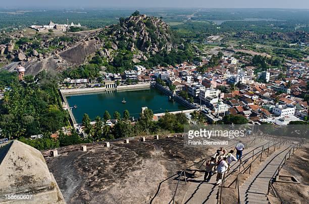 The village Sravanabelagola and Chandragiri hill seen from Indragiri hill