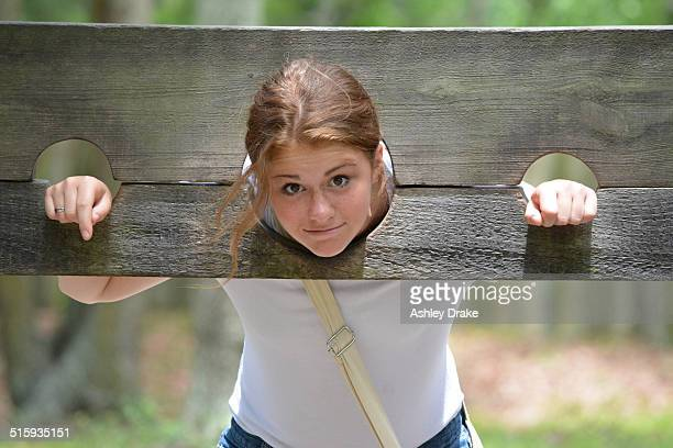 the village stocks - pillory stock pictures, royalty-free photos & images