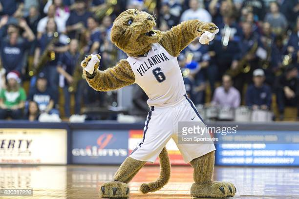 The Villanova mascot throws tshirts into the crowd during the game between the Villanova Wildcats and the American Eagles on December 21 2016 at the...