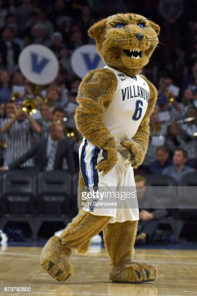 The Villanova mascot waits for play to resume during the college basketball game between the Columbia Lions and the Villanova Wildcats on November 10...