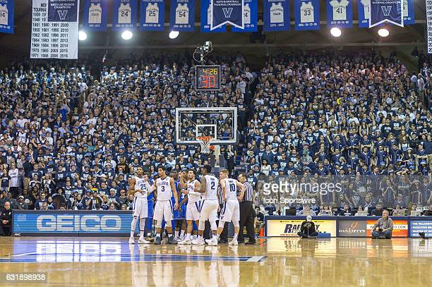 The Villanova starters in front of the crowd during the game between the Seton Hall Pirates and the Villanova Wildcats on January 16 2017 at The...