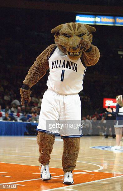 The Villanova University Wildcats mascot points at the camera during the first round of the Big East Championship Tournament against the Seton Hall...