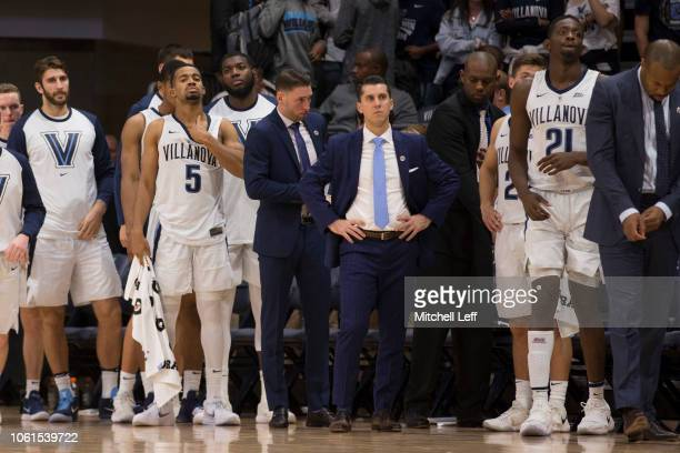 The Villanova Wildcats bench looks on in the final moments of the game against the Michigan Wolverines at Finneran Pavilion on November 14 2018 in...