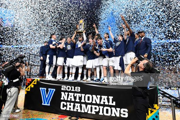 The Villanova Wildcats celebrate after defeating the Michigan Wolverines during the 2018 NCAA Men's Final Four Championship game at the Alamodome on...