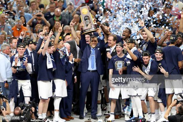 The Villanova Wildcats celebrate after defeating the Michigan Wolverines during the 2018 NCAA Photos via Getty Images Men's Final Four National...