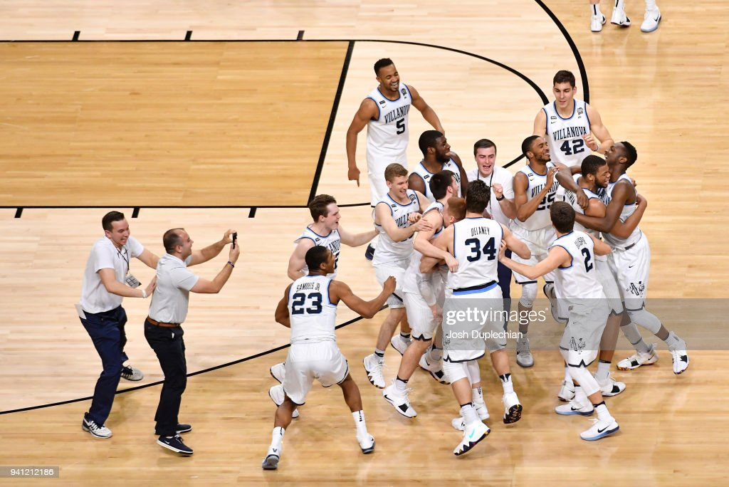 The Villanova Wildcats celebrate after the 2018 NCAA Men's Final Four National Championship game against the Michigan Wolverines at the Alamodome on April 2, 2018 in San Antonio, Texas.
