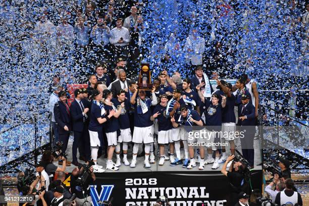 The Villanova Wildcats celebrate after the 2018 NCAA Photos via Getty Images Men's Final Four National Championship game against the Michigan...