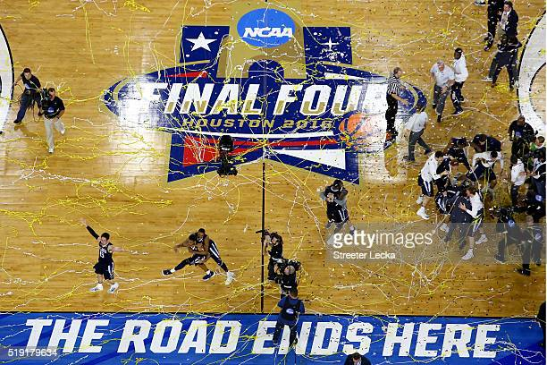 The Villanova Wildcats celebrate defeating the North Carolina Tar Heels 7774 to win the 2016 NCAA Men's Final Four National Championship game at NRG...
