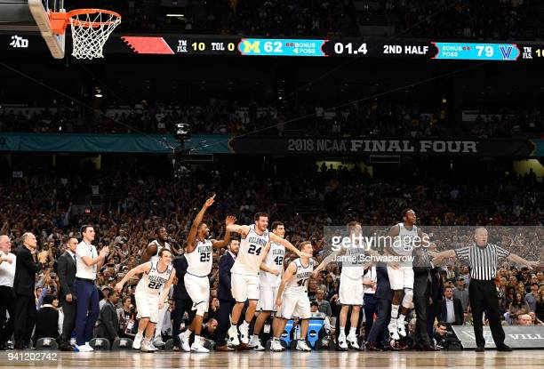 The Villanova Wildcats celebrate during the second half of the 2018 NCAA Men's Final Four National Championship game against the Michigan Wolverines...
