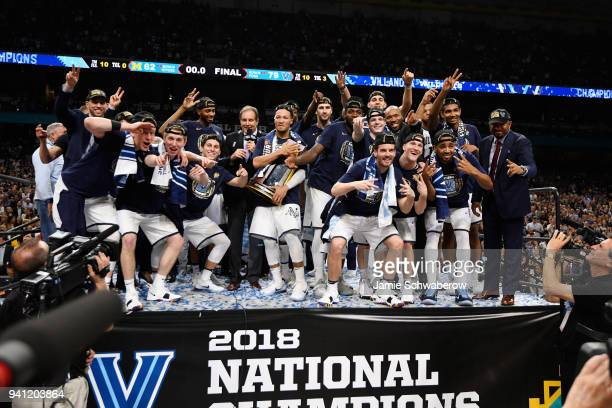 The Villanova Wildcats celebrate on stage after the 2018 NCAA Men's Final Four National Championship game against the Michigan Wolverines at the...