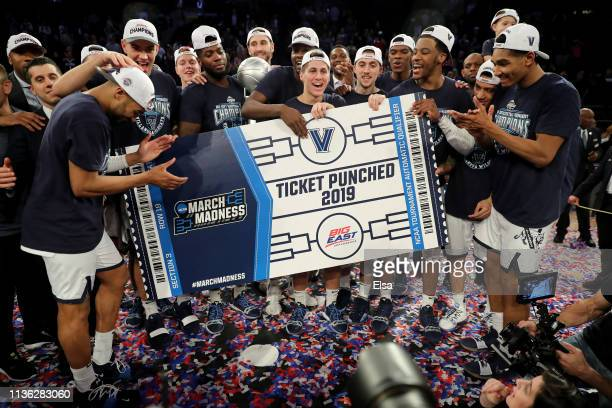 The Villanova Wildcats celebrate the 7472 win over the Seton Hall Pirates during the Big East Championship Game to claim the Big East title at...
