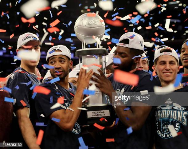 The Villanova Wildcats celebrate the 7472 win over the Seton Hall Pirates to take the Big East Championship title at Madison Square Garden on March...