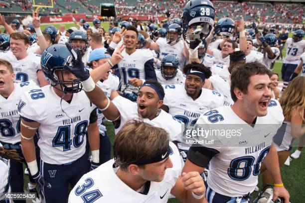 The Villanova Wildcats celebrate their win over the Temple Owls at Lincoln Financial Field on September 1 2018 in Philadelphia Pennsylvania The...