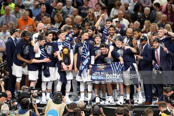 The Villanova Wildcats celewbrate on stage after the 2018 NCAA Men's Final Four National Championship game against the Michigan Wolverines at the...