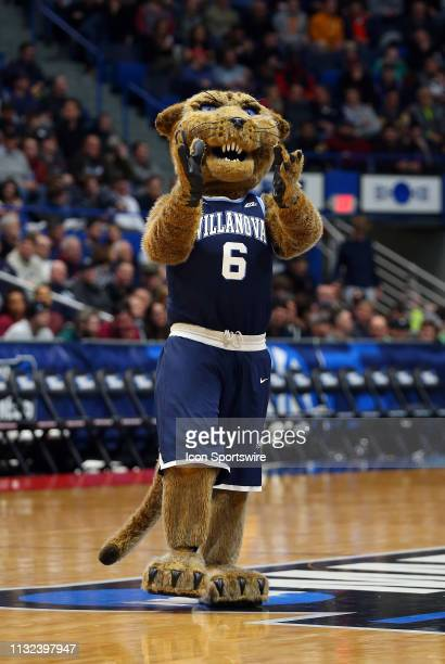 The Villanova Wildcats mascot during the basketball game between Villanova Wildcats and Purdue Boilermakers on March 23 at the XL Center in Hartford...