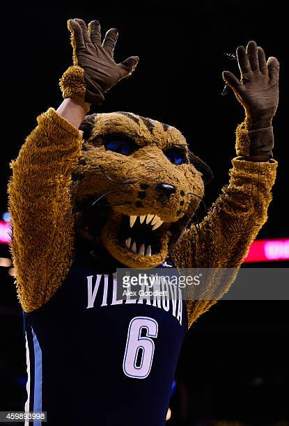 The Villanova Wildcats mascot looks on during a game against the Michigan Wolverines at the Barclays Center on November 25 2014 in the Brooklyn...
