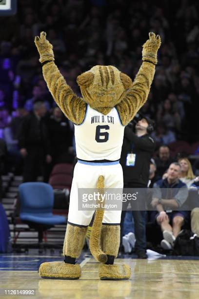 The Villanova Wildcats mascot on the floor during a college basketball game against the Seton Hall Pirates at the Wells Fargo Arena on January 27...