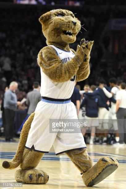 The Villanova Wildcats mascot on the floor during a college basketball game against the Georgetown Hoyas at the Wells Fargo Center on February 3 2019...