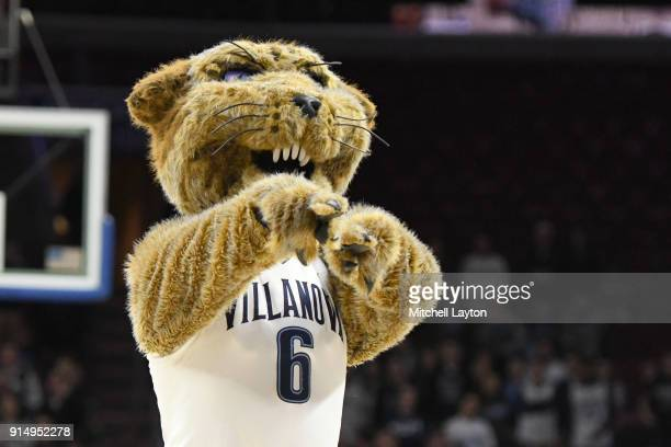 The Villanova Wildcats mascot on the floor during a college basketball game against the Creighton Bluejays at the Wells Fargo Arena on February 1...