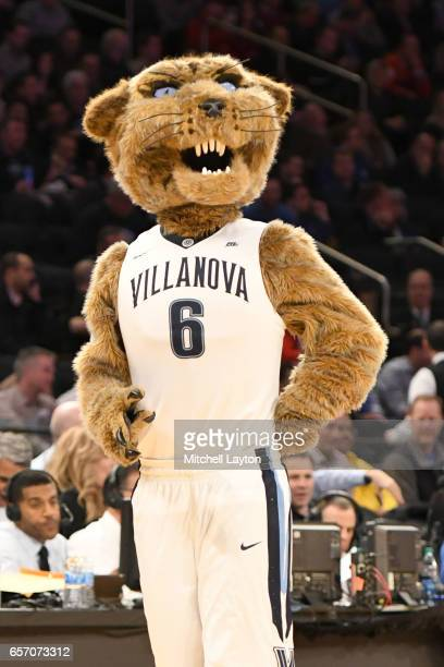 The Villanova Wildcats mascot on the floor during the Big East Basketball Tournament Quarterfinal game against the St John's Red Storm at Madison...