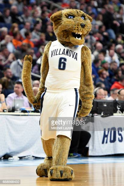 The Villanova Wildcats mascot on the floor during the First Round of the NCAA Basketball Tournament against the Mount St Mary's Mountaineers at The...