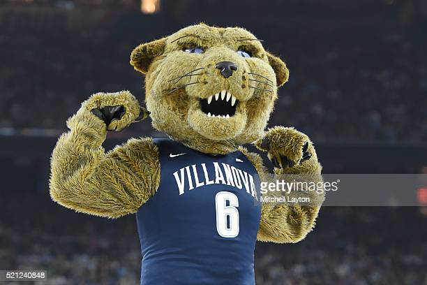 The Villanova Wildcats mascot on the floor during the NCAA College Basketball Tournament Championship game against the North Carolina Tar Heels at...