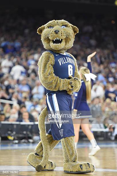 The Villanova Wildcats mascot on the floor during the NCAA Men's Final Four Semifinal Championship game against the Oklahoma Sooners at the NRG...