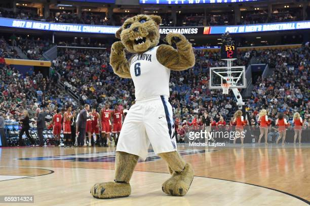 The Villanova Wildcats mascot on the floor during the Second Round of the NCAA Basketball Tournament against the Wisconsin Badgers at The KeyBank...