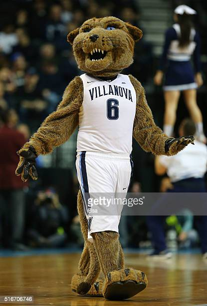 The Villanova Wildcats mascot performs against the Iowa Hawkeyes during the second round of the 2016 NCAA Men's Basketball Tournament at Barclays...