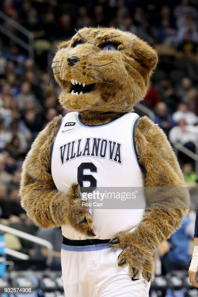 The Villanova Wildcats mascot performs against the Radford Highlanders during the first half of the game in the first round of the 2018 NCAA Men's...