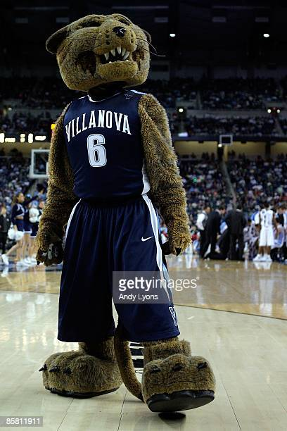 The Villanova Wildcats mascot performs during a break in the game against the North Carolina Tar Heels during the National Semifinal game of the NCAA...