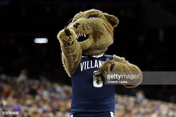 The Villanova Wildcats mascot performs during the NCAA Men's Final Four Semifinal between the Villanova Wildcats and the Oklahoma Sooners at NRG...