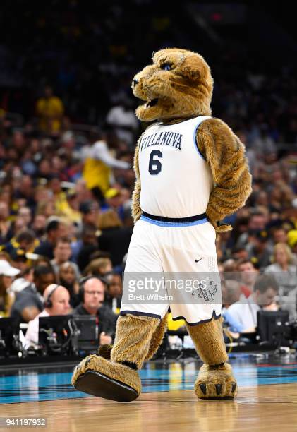The Villanova Wildcats mascot walks on the court during the first half of the 2018 NCAA Photos via Getty Images Men's Final Four National...