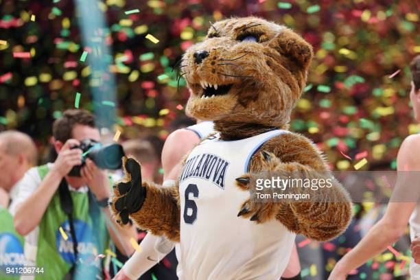 The Villanova Wildcats mascot Will D Cat celebrates after defeating the Michigan Wolverines in the 2018 NCAA Men's Final Four National Championship...