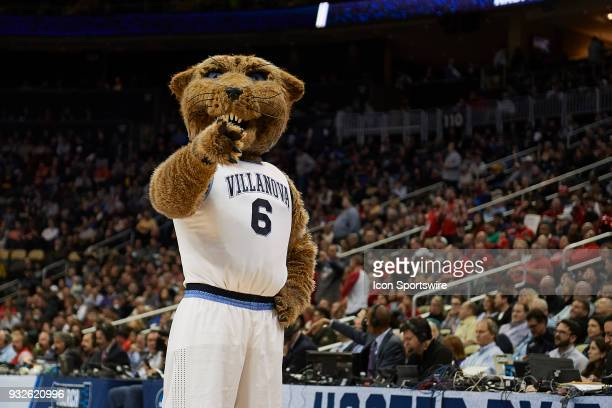 The Villanova Wildcats mascot Will D Cat during the second half of the first round of the NCAA Division I Men's Championships between the Villanova...