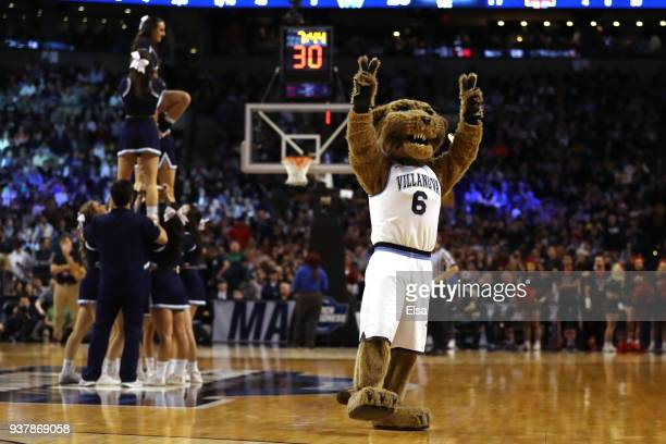 The Villanova Wildcats mascot Will D Cat performs during the first half in the 2018 NCAA Men's Basketball Tournament East Regional between the...