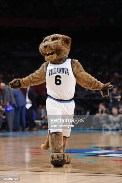 The Villanova Wildcats mascot Will D Cat performs in the first half during the 2018 NCAA Men's Final Four Semifinal between the Villanova Wildcats...
