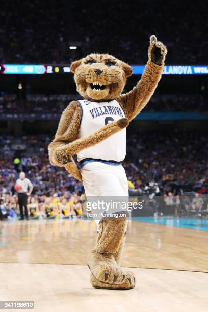 The Villanova Wildcats mascot Will D Cat performs in the second half during the 2018 NCAA Men's Final Four National Championship game between the...