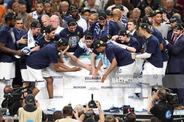 The Villanova Wildcats place their schools name on the National Championship Bracket after defeating the Michigan Wolverines in the 2018 NCAA Photos...