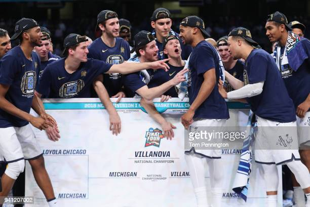 The Villanova Wildcats place their team's sticker on a bracket after defeating the Michigan Wolverines during the 2018 NCAA Men's Final Four National...