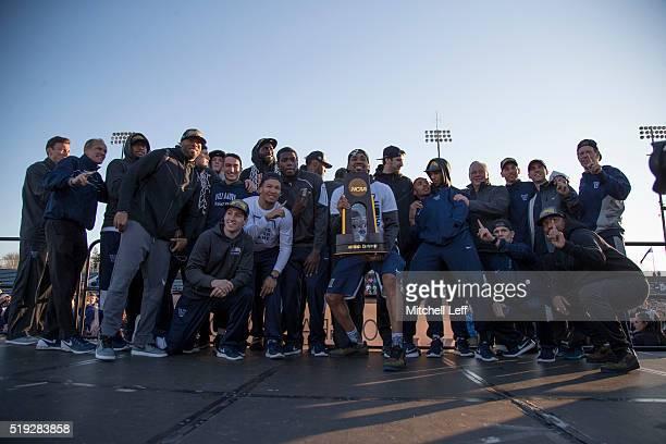The Villanova Wildcats pose for a picture during their championship rally on April 5 2016 at Villanova Stadium in Villanova Pennsylvania