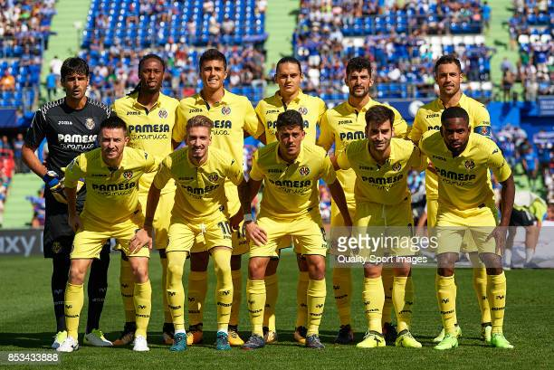 The Villarreal team line up for a photo prior to kick off during the La Liga match between Getafe and Villarreal at Coliseum Alfonso Perez on...