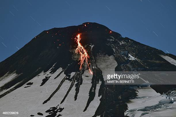 The Villarrica volcano near Villarrica in southern Chile shows some activity on March 4 2015 a day after it erupted The Villarrica erupted early...