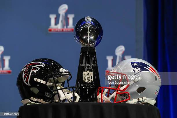 The Vince Lombardi Tophy and Atlanta Falcons helmet and New England Patriots helmet on display during NFL Commissioner Roger Goodell's press...