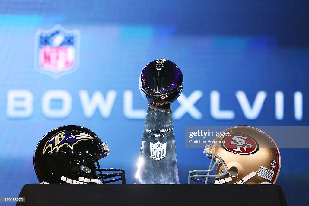 The Vince Lombardi trophy and helmets are displayed during a press conference for Super Bowl XLVII with NFL Commissioner Roger Goodell at the Ernest N. Morial Convention Center on February 1, 2013 in New Orleans, Louisiana.