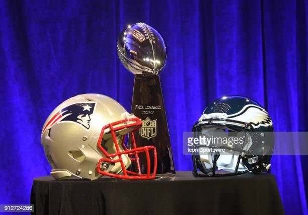 The Vince Lombardi Trophy and helmets from The New England Patriots and Philadelphia Eagles are displayed at NFL Commissioner Roger Goodell's Super...